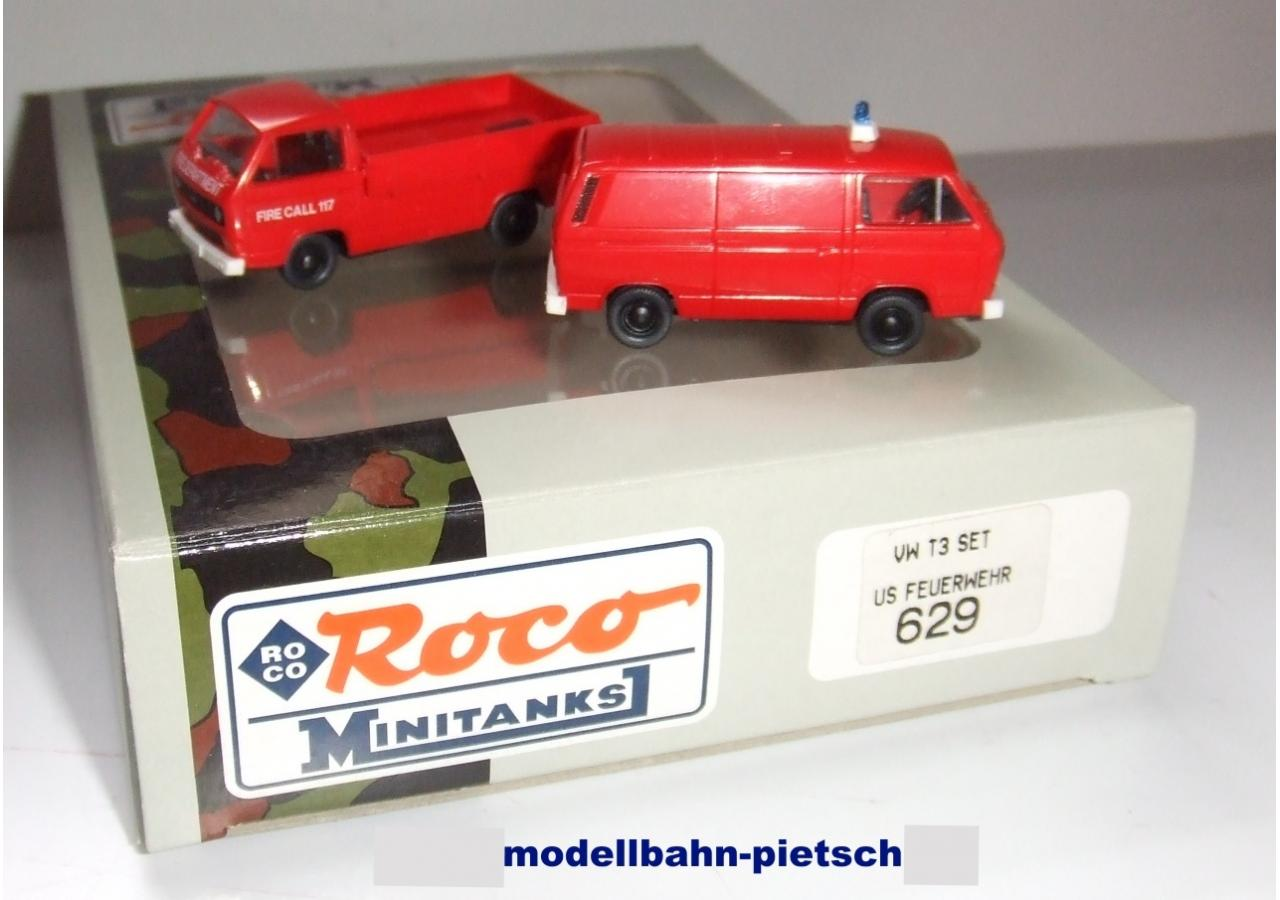 810 VW T3 US-Army Fire Dept. 2-tlg. neu in OVP Roco Minitanks H0 1:87 Art.-Nr